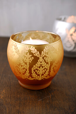 Frosted Candle Holder Gold 4.5in