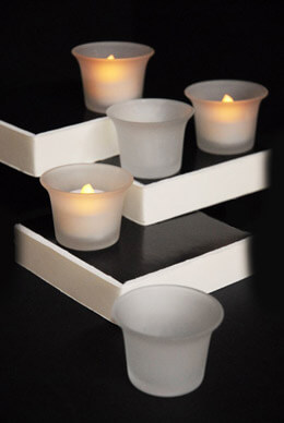 24 Frosted Oyster Cup Glass Tea Light Holders