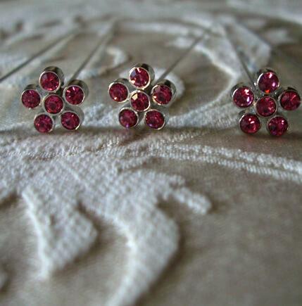 "Fuchsia Pink Flower Crystal 3"" Flower Pins (5 pins /pkg)"