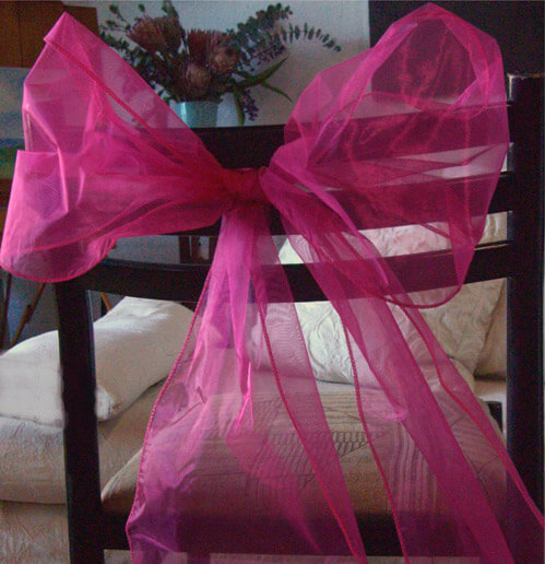 Fuchsia Pink Organza Chair Sashes (Pack of 10)