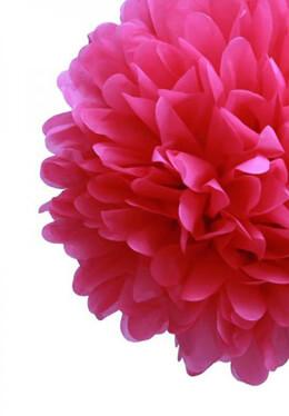 4 Tissue Paper Pom Poms Fuchsia 20in