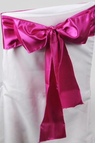 10 Fuchsia Pink Satin Chair Sashes 6x106