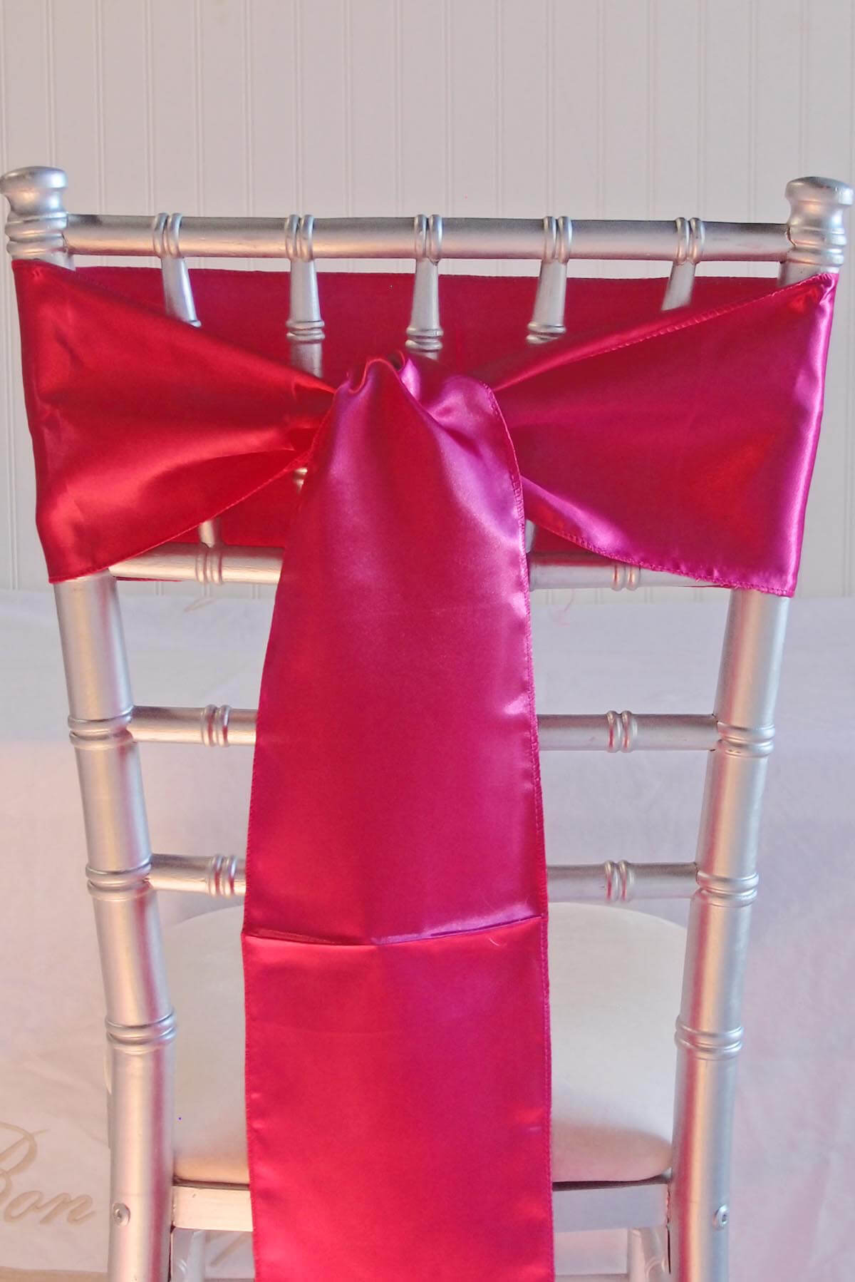 10 Dark Fuchsia Pink Satin Chair Sashes 6x106