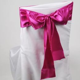 Fuchsia Pink Satin Chair Sashes (Pack of 10)