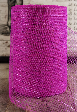 "Fuchsia Sparkle Mesh 7"" wide x 60 Feet"