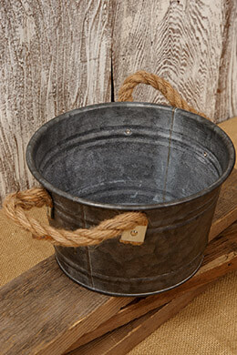 Galvanized Bucket with Rope Handles 4.75in