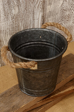 Galvanized Bucket with Rope Handles 6.25in