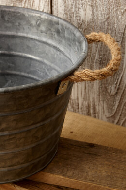 Galvanized Metal Bucket with Rope Handles 7""