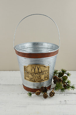 "Galvanized 8.25"" Bucket with Handle Christmas Tree Farm Logo"