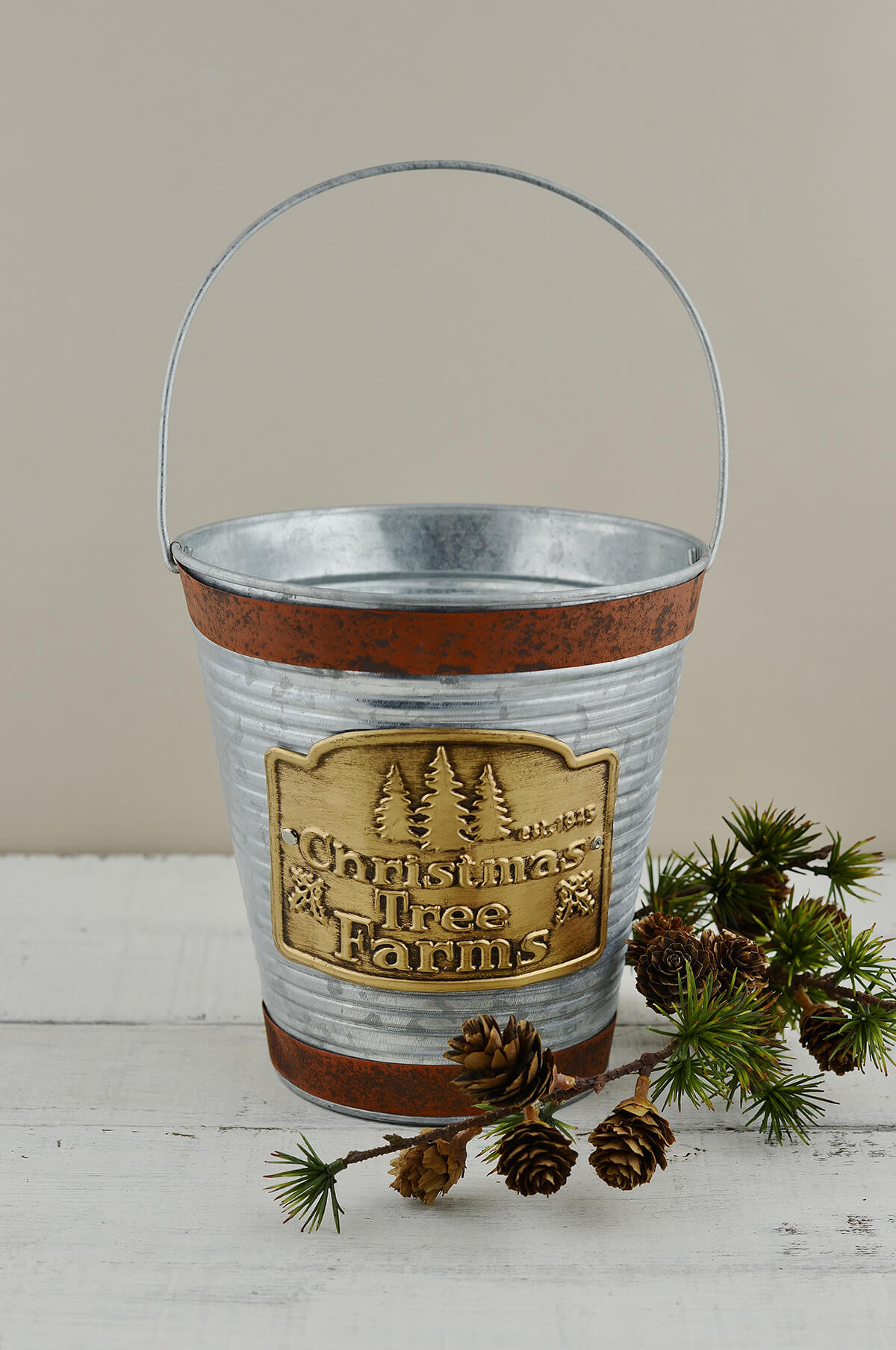 Galvanized bucket with handle christmas tree farm logo for Christmas tin pails