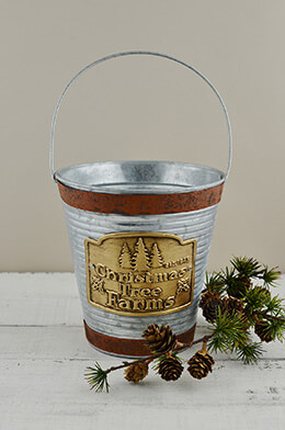 "Galvanized 7.25"" Bucket with Handle Christmas Tree Farm Logo"