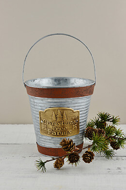 "Galvanized 7"" Bucket with Handle Christmas Tree Farm Logo"