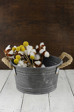 Galvanized Bucket with Rope Handles 9x4.5in