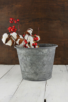 Galvanized Bucket Snowflake 7x5.5in