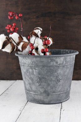 Snowflake Metal Bucket  7x5.5in