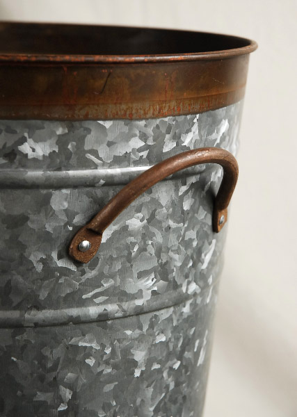 """Two Tone 13"""" Galvanized  Flower Market Buckets with handles"""