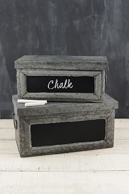 Galvanized Metal Boxes (Set of 2)