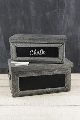 Galvanized Metal Boxes (Set of 2)