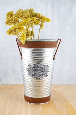 Galvanized Metal Bucket 10.2in