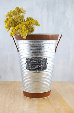 Galvanized Metal Bucket 11.6in