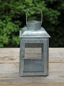 Galvanized Metal Lantern 8in