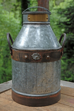 Galvanized Metal Milk Can 15in