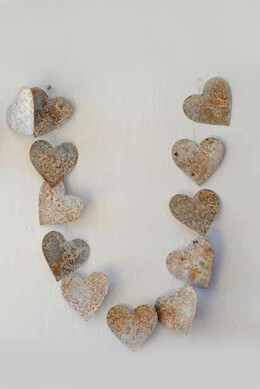Rustic Tin Heart Garland