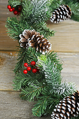 Pine Garland with Red Berries 6 FT