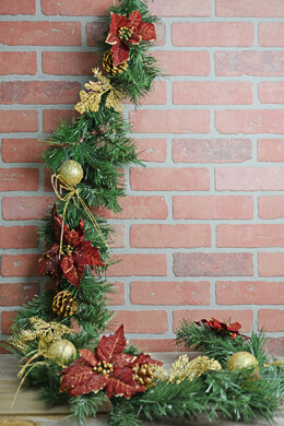 Deluxe Gold Accented Pine & Poinsettia Christmas Garland 6 FT