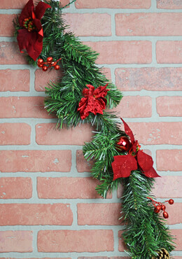Poinsettia Christmas Garland 6ft