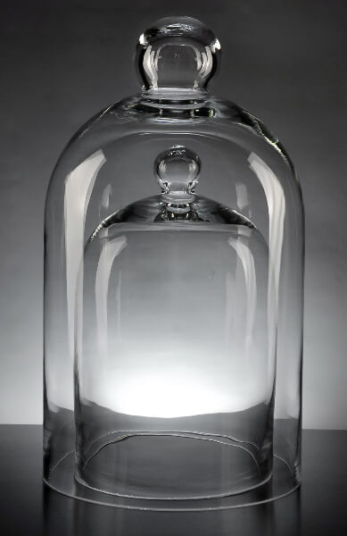 "Glass Bell Jars  15.75"" and 9""  (Set of 2)"