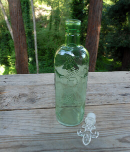 Glass Bottle with Topper Green 11.5in