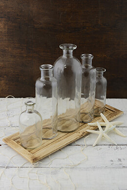 Glass Bottle Set with Tray