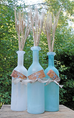 Glass Bottle Vases Frosted (Set of 3)