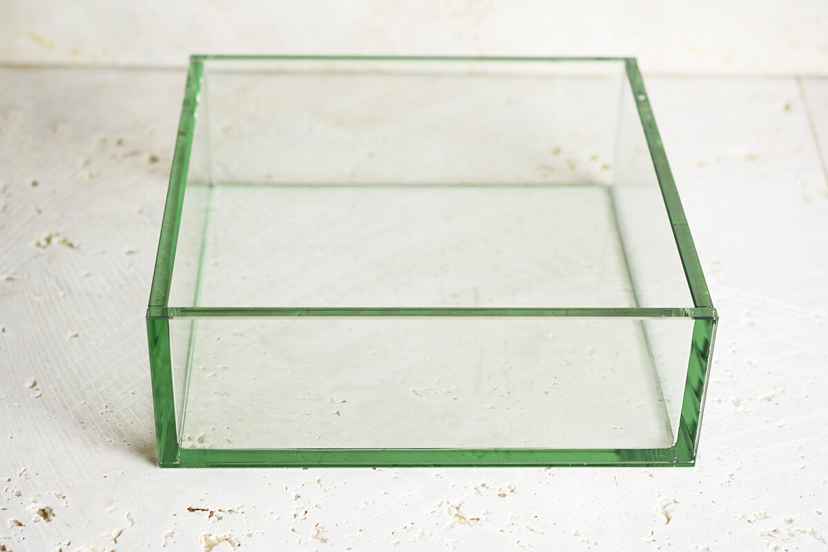 Thick Glass Plate Square Bowl 9x9x3