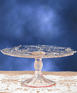 Glass Cake Stand Pink 9in