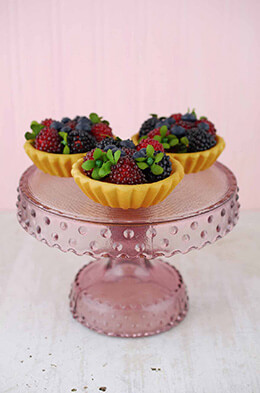 Glass Cake Stand Purple 6.5in