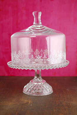 Glass Cake Stand with Cloche 9in