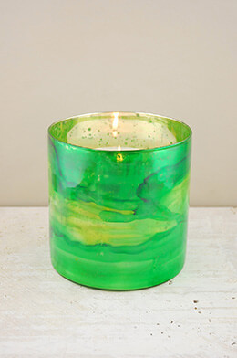 Glass Candle Holder Green 6in