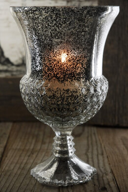 Glass Candle Holder Silver Flecked
