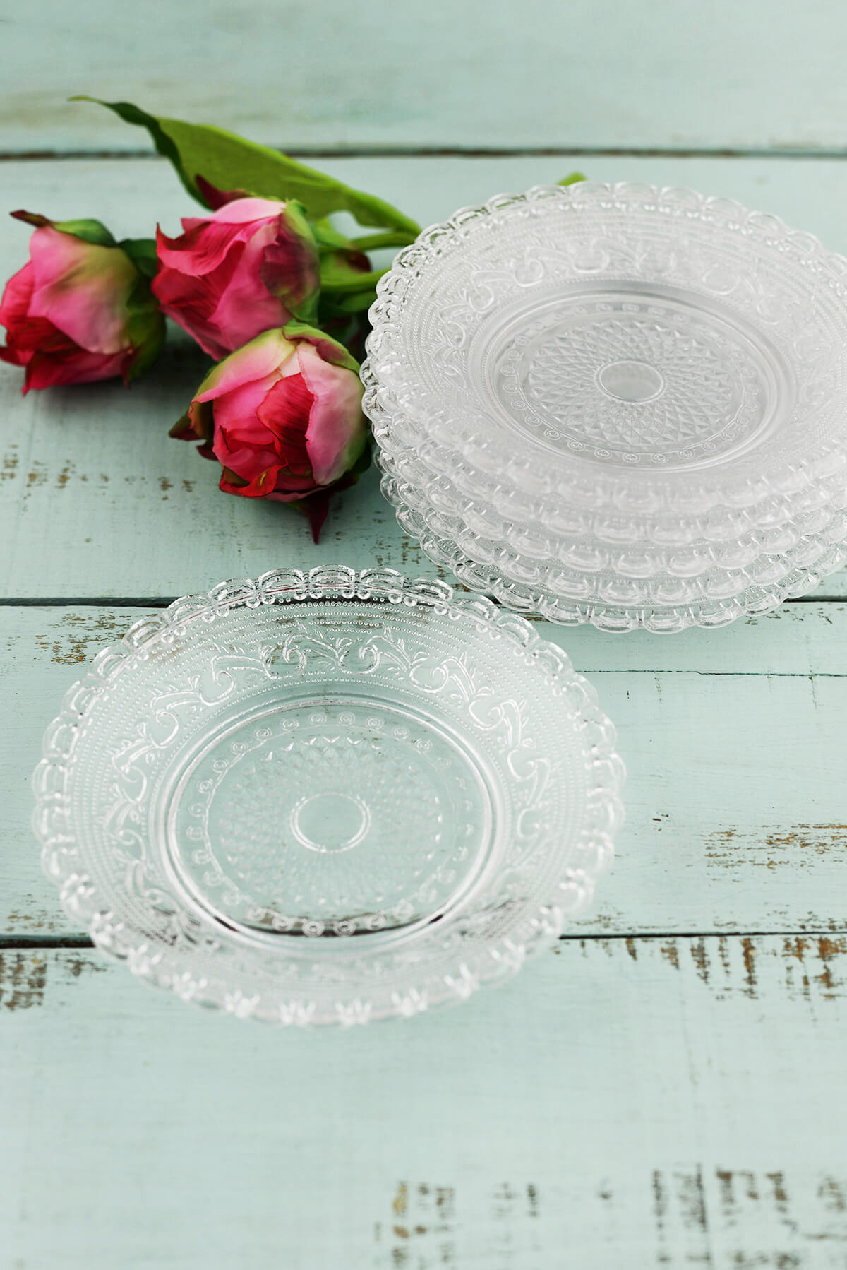 """6 Clear Glass 5"""" Lace Design Plates"""