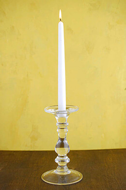 Glass Candlestick 8in