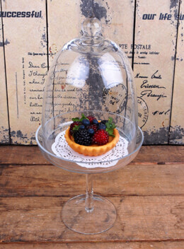 Glass Cloche on Stand 10in