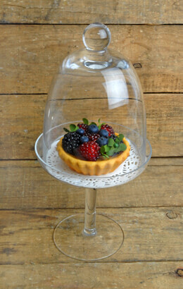 Glass Dessert Pedestal Cloche 12.25in
