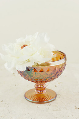 Copper Luster Glass Dove Compote 5""