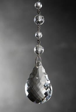 "Glass Crystal Hanger with 2"" Teardrop & Silver Hook"