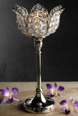 Glass Crystal Tulip Candle Holders Pedestal 13in