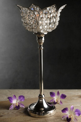 Pedestal Crystal Flower Candle Holder 15in