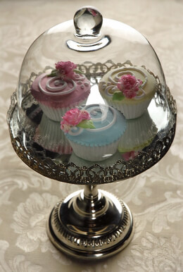 Glass Dome Silver Plated Dessert Stand 13.5in x 8in