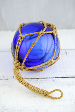 Glass Float with Rope Dark Blue 4in